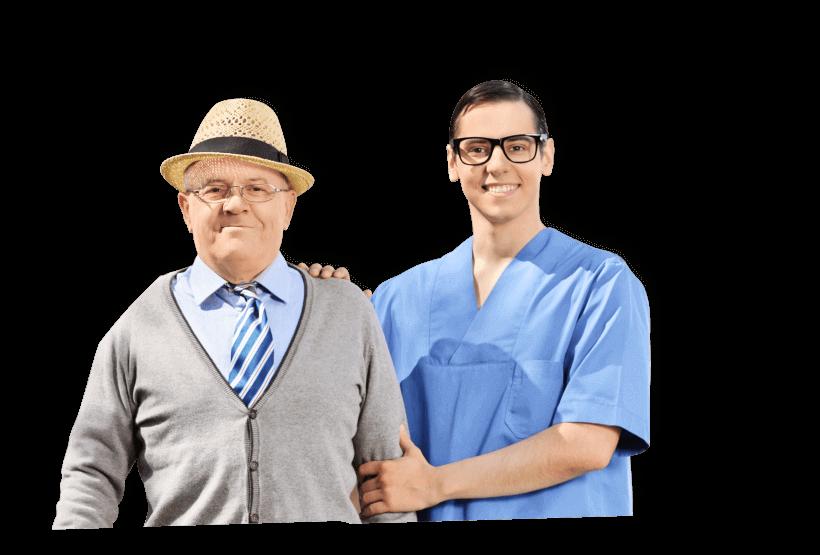caregiver assisting his patient